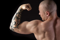 Strong man with relief body Royalty Free Stock Photography