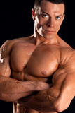 Strong man with relief body looking at camera Royalty Free Stock Image