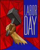 Strong Man`s Hand Raising Up A Hammer - Labor Day Low Poly Poste Royalty Free Stock Photography