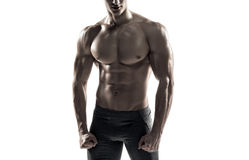 Strong man showing perfect abs, houlders, biceps, triceps and chest Stock Photos