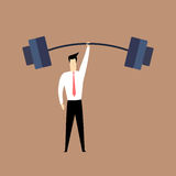 Strong man in suit lifting weights with one hand Stock Photography