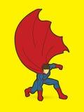 Strong Man , Superhero landing powerful action Stock Photos