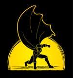 Strong Man. Superhero landing powerful action Royalty Free Stock Photos