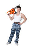Strong Man With Chainsaw Royalty Free Stock Images