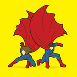 Strong Man and Woman, Couple Superhero landing powerful action Royalty Free Stock Image