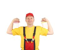 Strong man in working clothes. Royalty Free Stock Photography