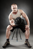 Strong man working out Royalty Free Stock Photo