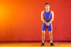 Strong man wrestler. Young man  greco-roman  wrestler in blue uniform  standing   on a yellow wrestling carpet in the gym Royalty Free Stock Photos