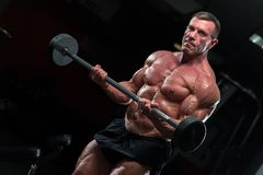 Strong mature bodybulding man in the gym royalty free stock image