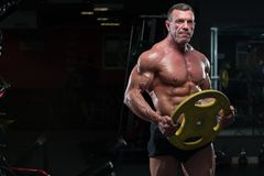 Strong mature man with relief body posing in gym. Full length portrait of high level bodybuilder posing with heavy weights in hands. Strong mature man with stock photography
