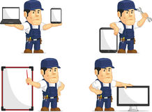Strong Mechanic Mascot 12. A vector set of a male mechanic in several poses. Drawn in cartoon style, this vector is very good for design that need mechanic or Royalty Free Stock Photo