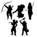 Medieval womans black silhouettes stock image
