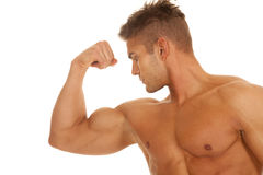 Strong men flex bicep serious Royalty Free Stock Images