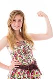 Strong model isolated with arm curl Royalty Free Stock Photography