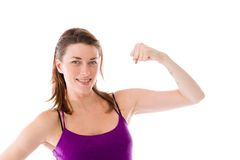 Strong model isolated with arm curl Stock Image
