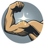 Strong muscle flex. An illustration of a mans arm flexing a large muscle royalty free illustration