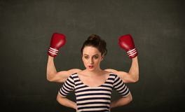 Strong and muscled boxer arms Stock Photography