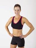 Strong muscular Beautiful fitness woman portrait Stock Photos