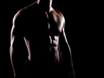 Strong and muscular body of man shaded over black background.  Royalty Free Stock Photography