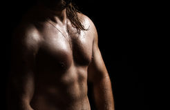 Strong and muscular body of man shaded over black Royalty Free Stock Photos