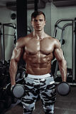 Strong muscular bodybuilder doing exercise in the gym. Part of fitness body. Sports and fitness. Fitness man in the gym. Fitness training stock photography