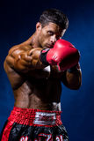 Strong muscular boxer in red boxing gloves. A man in a boxers s. Tance strikes Royalty Free Stock Photos