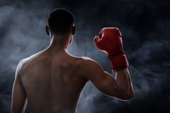 Strong muscular boxer on smoke backgrounds royalty free stock photo