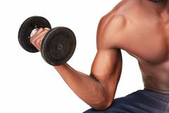 Strong and muscular guy with dumbbell isolated on Stock Photo