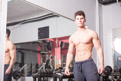 Strong muscular guy in the gym Stock Image