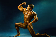 Strong muscular man bodybuilder shows his muscles. Stock Image