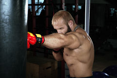 Strong muscular man boxing at the gym. Royalty Free Stock Photo