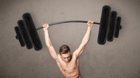 Muscular man lifting weights. Strong muscular man lifting weights royalty free stock photos