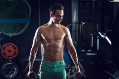 Strong Muscular man with naked torso abs working out in gym doing exercises with dumbell at biceps.  Stock Photos