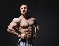 Strong muscular man posing in studio over dark background royalty free stock photo