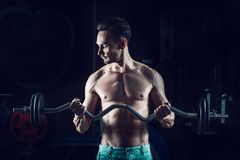 Strong Muscular man working out in gym doing exercises with barbell at biceps.  Stock Photography