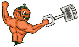 Strong Muscular Pumpkin Monster Holding Big Piston Royalty Free Stock Photography
