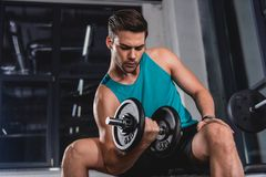 Strong muscular sportsman lifting dumbbell. In gym royalty free stock image