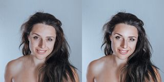 Strong yet natural young female studio portrait retouching sample nicely colored stock photos