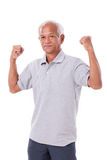 Strong old man. On white isolated background Royalty Free Stock Photo
