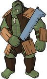 Strong orc with sword. Orc warrior with big sword on white background Stock Images
