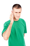 Strong pain in ear Stock Image
