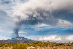Strong paroxysm on volcano Etna Royalty Free Stock Photo