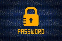 Strong password encription. Data protection from hacking. Cyber security. Data encryption. Stock Photos