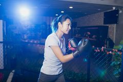 Woman boxing in gym Stock Image