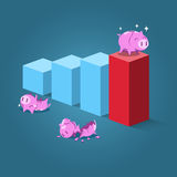 Strong piggy standing on highest step Royalty Free Stock Image