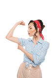 Strong pin up woman showing muscles Royalty Free Stock Photos
