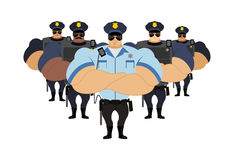 Strong Police to arrest. Police officers came to arrest criminal. S. Roth defenders bodyguards. Large guardian law bodybuilder. Powerful man in police uniforms Stock Photography