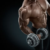 Strong and power bodybuilder doing exercises with dumbbell Royalty Free Stock Photography