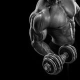 Strong and power bodybuilder doing exercises with dumbbell Royalty Free Stock Images