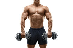 Strong and power bodybuilder doing exercises with dumbbell. Handsome power athletic man bodybuilder doing exercises with dumbbell. Fitness muscular body isolated Stock Photos